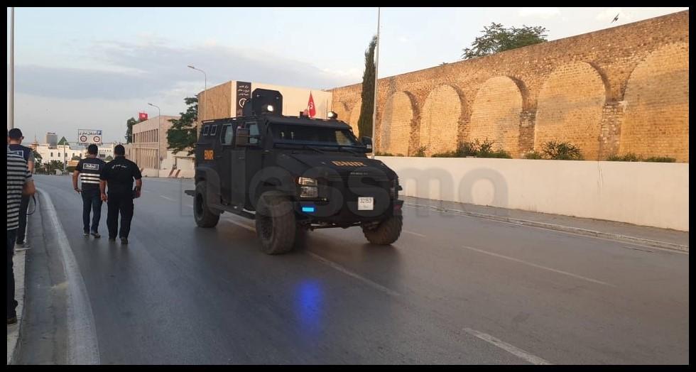 التواجد الأمني بعد ما راج حول دوي انفجار بالقصبة