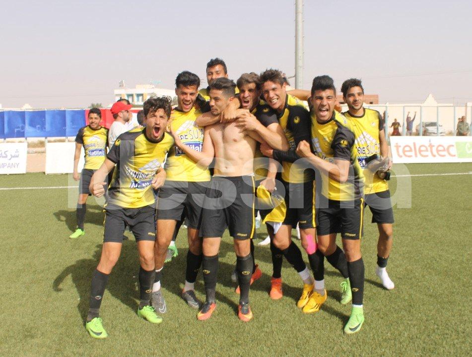 فرحة لاعبي النادي البنزرتي بعد الفوز على إتحاد تطاوين