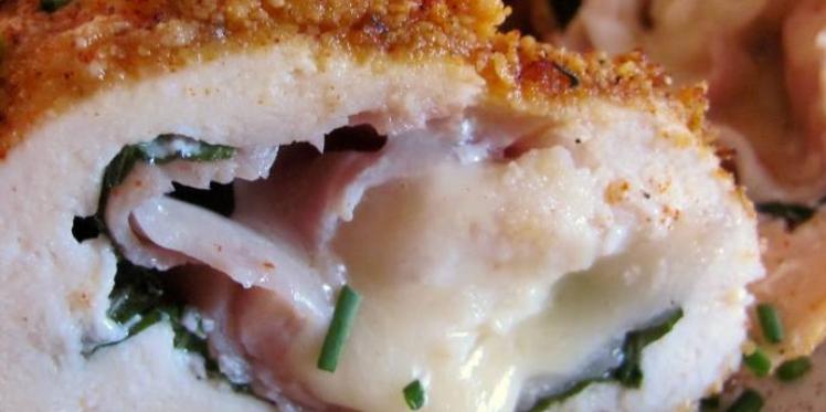 الدجاج المحشي بالجبن والزعتر