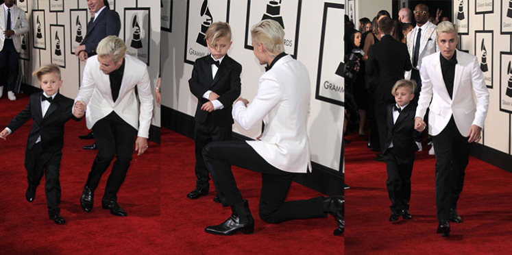 Grammy Awards 2016 : Justin Bieber a foulé le tapis rouge avec son petit frère