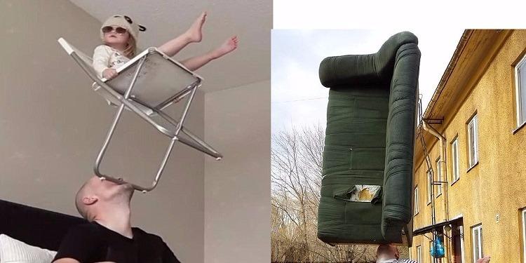 رجل يتحدى الملل برفع الأشياء الثقيلة على ذقنه! (صور+فيديو)
