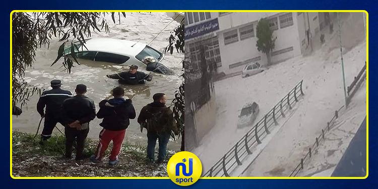 قبل يومين من مباراة الترجي: فيضانات في مدينة قسنطينة (فيديو)