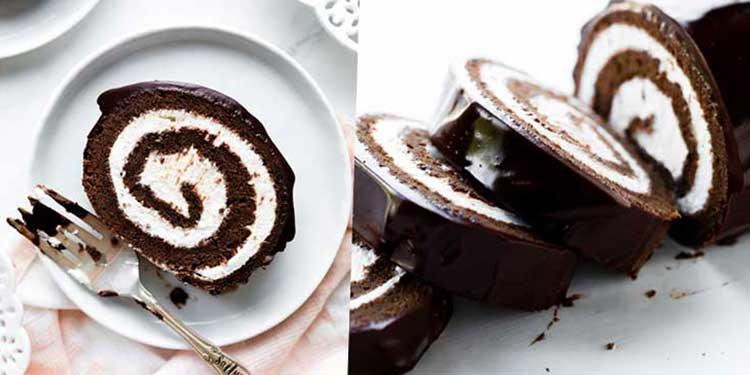 كيك ملفوف مع الكريمة وصلصة الشوكولاتة
