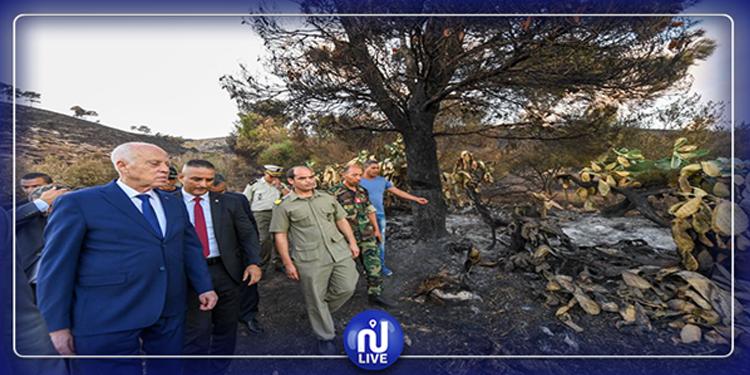 Béja - Djebel Amdoun – Kais Saied inspecte les dégâts des incendies
