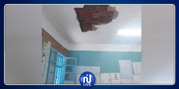 إثر سقوط سقف إحداها..غلق 3 قاعات بمدرسة  إبتدائية في بنزرت