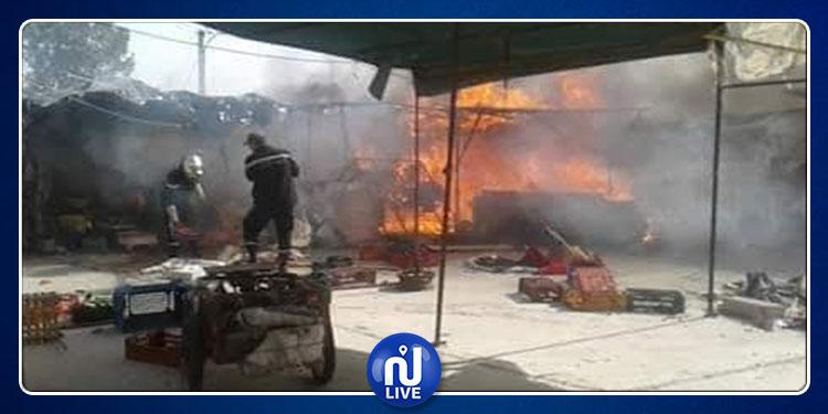 حريق بالسوق البلدي في بوسالم  (صور)