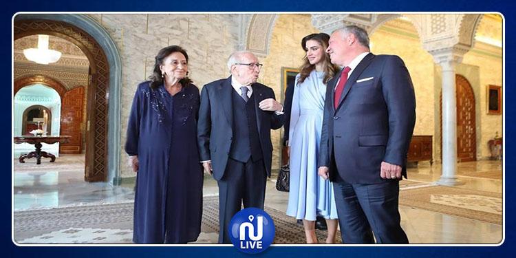 ملك الأردن وعقيلته الملكة رانيا في تونس  لتقديم التعازي في وفاة رئيس الجمهورية