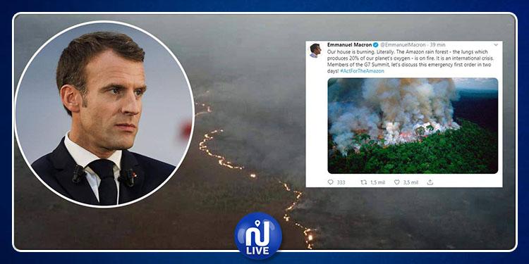 Incendie en Amazonie : Macron appelle à une action urgente du G7