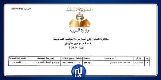 Sixième : La meilleure moyenne détenue par 1 élève de Kasserine