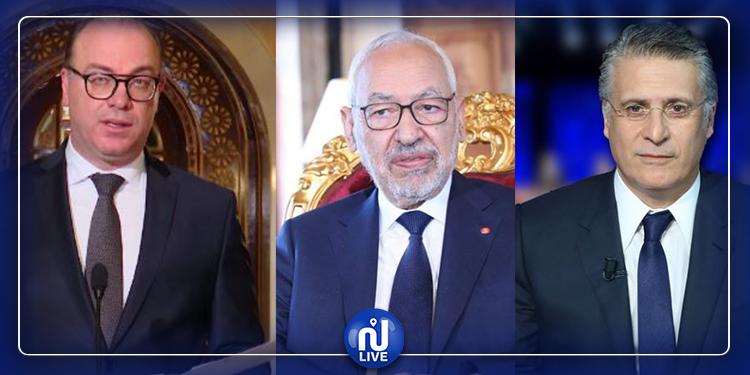 Réunion tripartite entre Rached Ghannouchi, Elyes Fakhfakh et Nabil Karoui