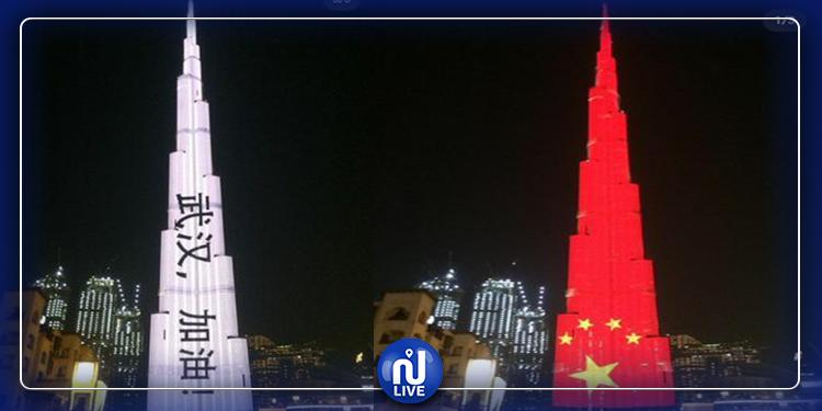 Burj Khalifa illuminé aux couleurs du drapeau chinois