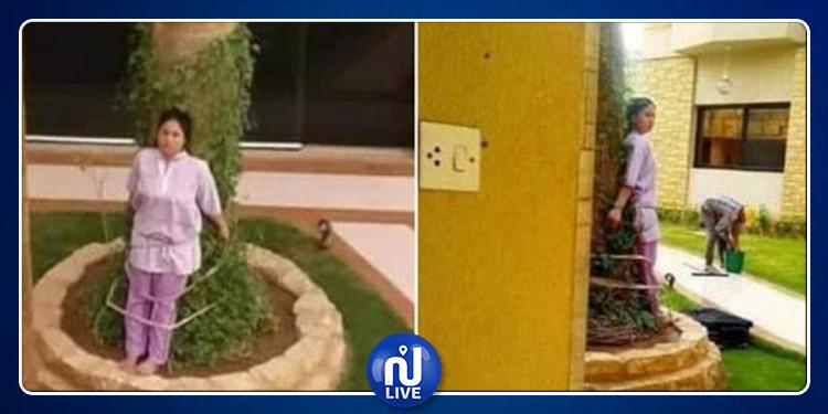 السعودية: عائلة ثرية تربطُ خادمتها بشجرة! (صور)
