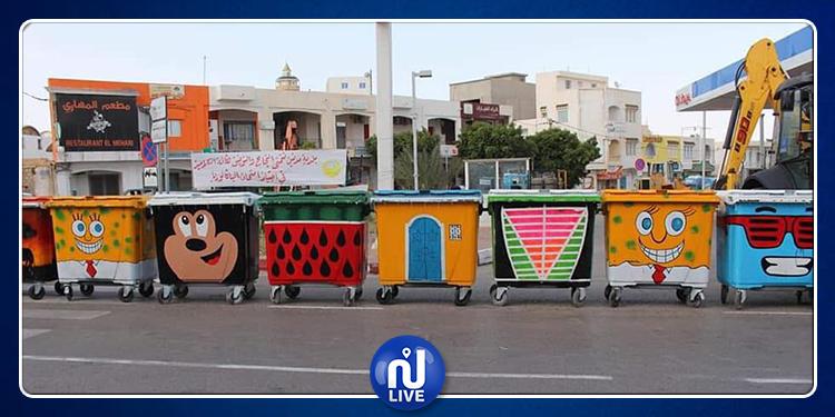 في جربة.. رسومات وألوان تزين حاويات القمامة (صور)