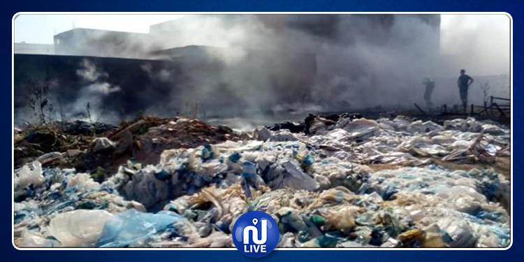 اندلاع حريق قرب مصنع رسكلة النفايات البلاستيكية بسوسة