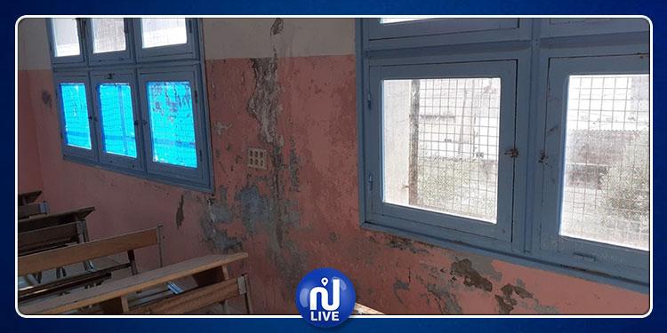 دوار هيشر:  سقوط جزء من سقف قاعة تدريس بالمعهد الثانوي حي الشباب