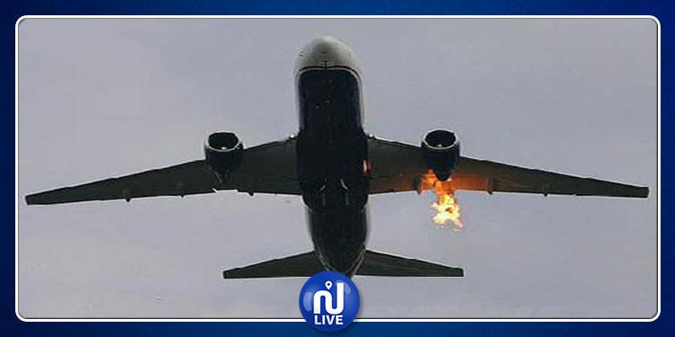 هبوط اضطراري لطائرة بعد احتراق محركها