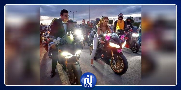 تونسية من محبّي سباق الدراجات النارية تحتفل بزفافها على طريقتها (صور)