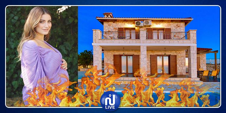 حريق كاد يودي بحياة النجمة التركية هازال كايا و جنينها