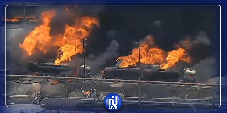 حريق هائل بمصنع للنفط في فرنسا