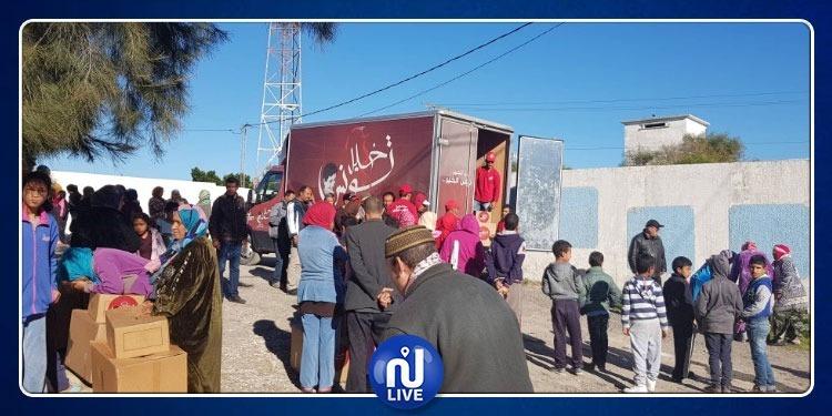 قافلة الخير 'لخليل تونس' بباجة تحط رحالها بمنطقة الجديدي (صور)