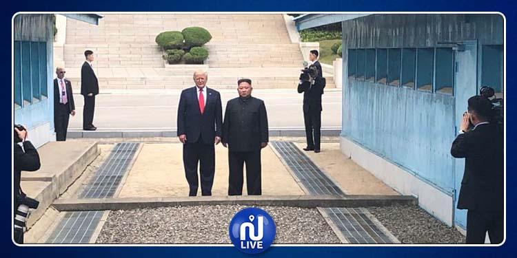 سابقة تاريخية: ترامب يلتقي كيم ويصبح أول رئيس أمريكي يدخل لكوريا الشمالية (فيديو)
