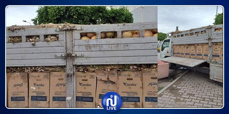 القيروان: الديوانة تحجز مكيفات وأجهزة تلفاز داخل شاحنة محملة بالبطيخ والثوم
