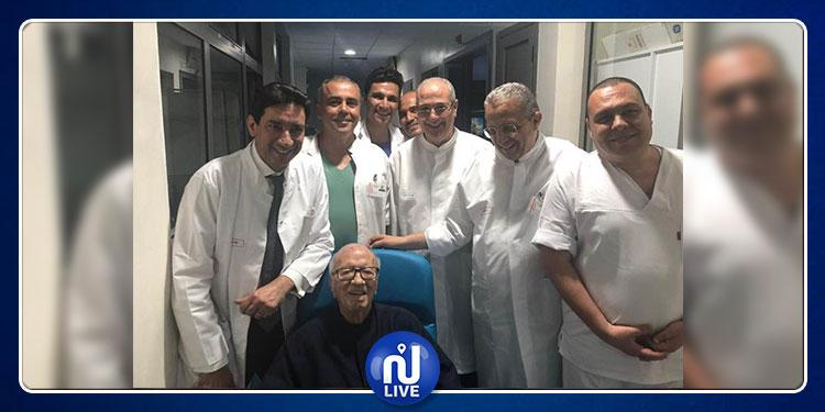 صورة لمغادرة رئيس الجمهورية المستشفى