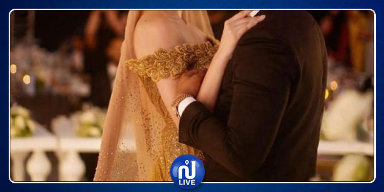 عارضة أزياء تونسية ترتدي فستانا من الذهب في يوم زفافها (صور)