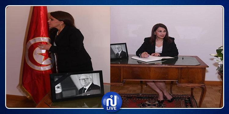 Mejda Roumi à l'ambassade de Tunisie à Beyrouth pour présenter ses condoléances