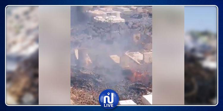 اندلاع حريق بمقبرة الشابة (فيديو)