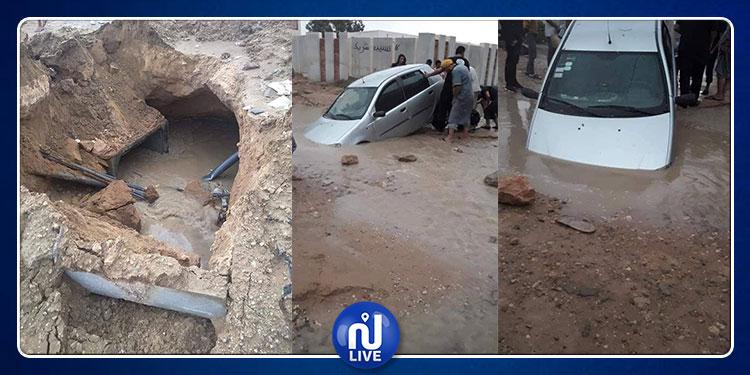 سبيطلة: سيارات تغرق في الحفر إثر نزول كميات هامة من الأمطار