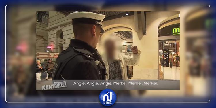 تونسي في ألمانيا أوقفته الشرطة فبدأ في رفع الشعارات: '''ميركل ميركل ميركل'' (فيديو)