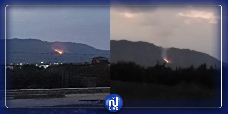 اندلاع حريق في جبل الخشم المتاخم بسيدي بوزيد