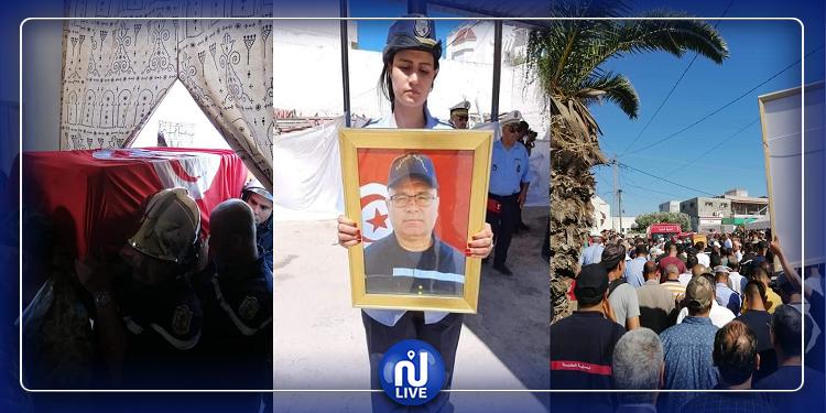 تشييع جثمان الملازم الأول بالحماية المدنية معز الزيادي في موكب مهيب