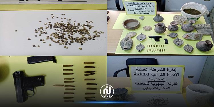 نابل: ضبط 254 بذرة ''قنب هندي'' ومسدس وقطع أثرية