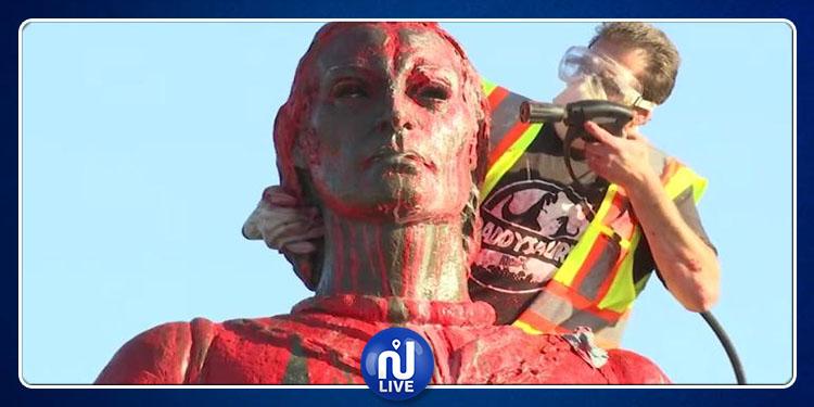 La statue de Christophe Colomb en Californie vandalisée