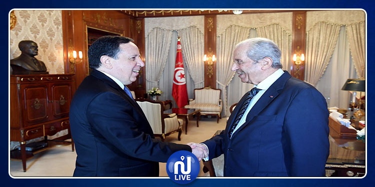 Mohamed Ennaceur reçoit Khemaies Jhinaoui au Palais de Carthage