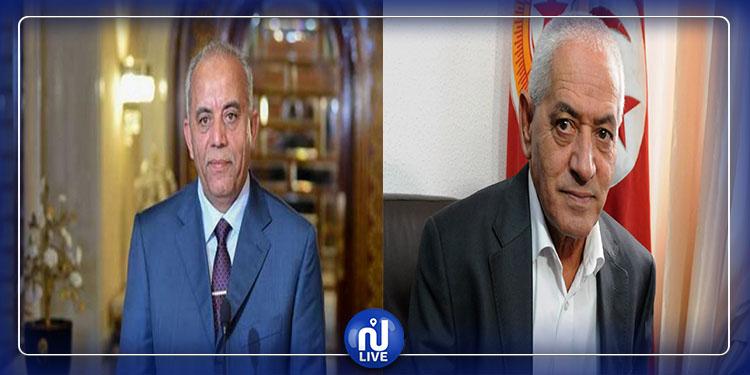 Habib Jemli s'entretient avec  l'ancien secrétaire général de l'UGTT Houcine Abassi