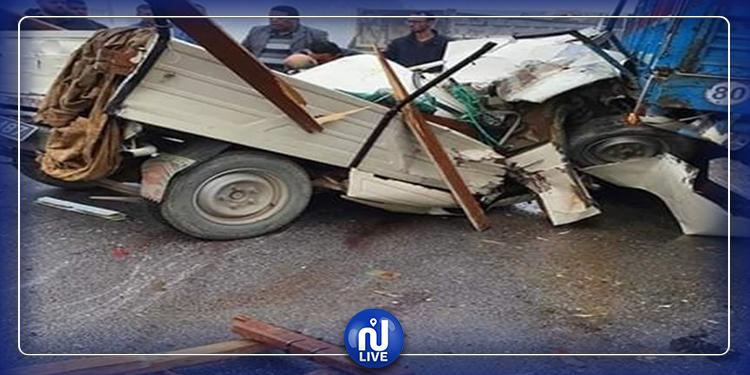 Sousse : Collision entre plusieurs voitures et  1 camion de poids léger (photos)