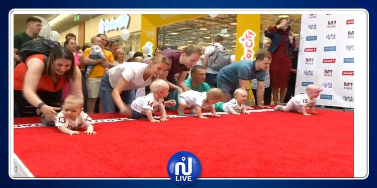 سباق للأطفال الرضع في ليتوانيا (فيديو)