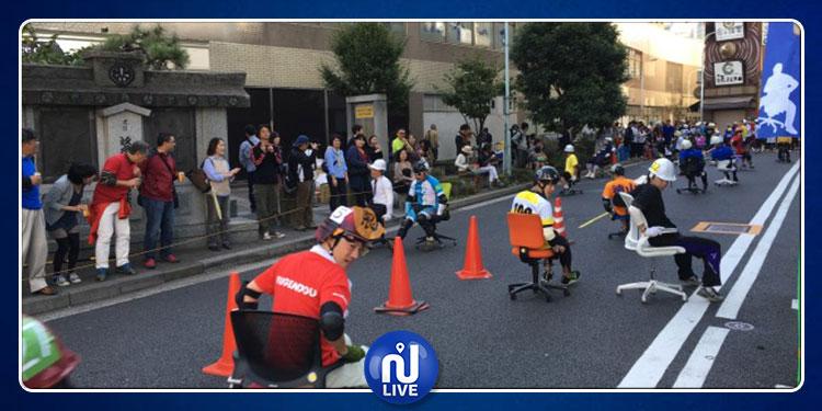 سباق كراسي المكاتب في اليابان ..مسابقة غريبة وجائزة أغرب (فيديو)