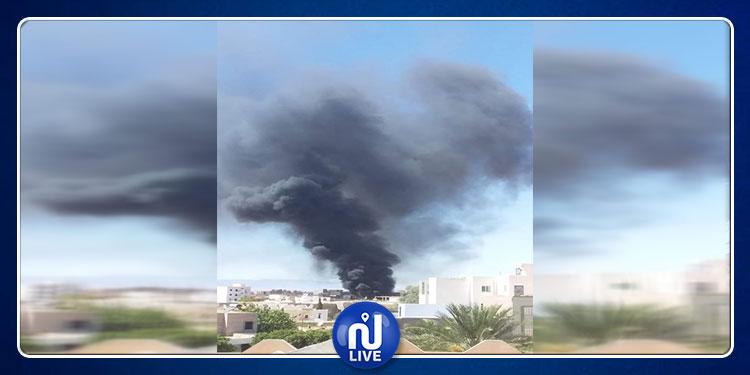 سيدي بوزيد: حريق بمحل لبيع المحروقات في حي النور الغربي  (فيديو)