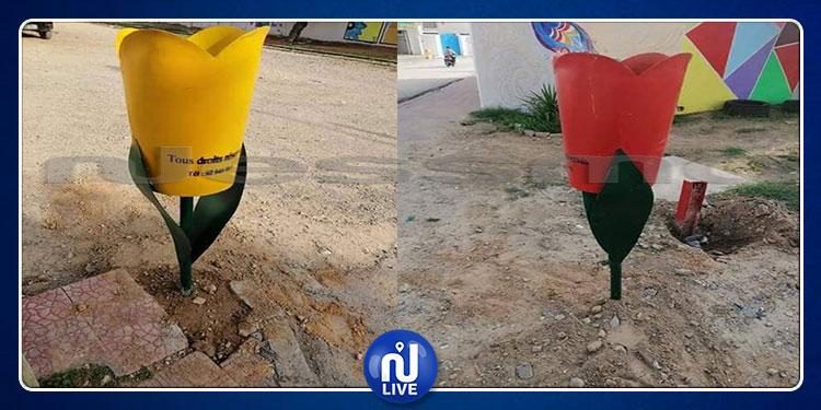 الحمامات: تركيز حاويات قمامة على شكل أزهار في حي الناظور (صور)