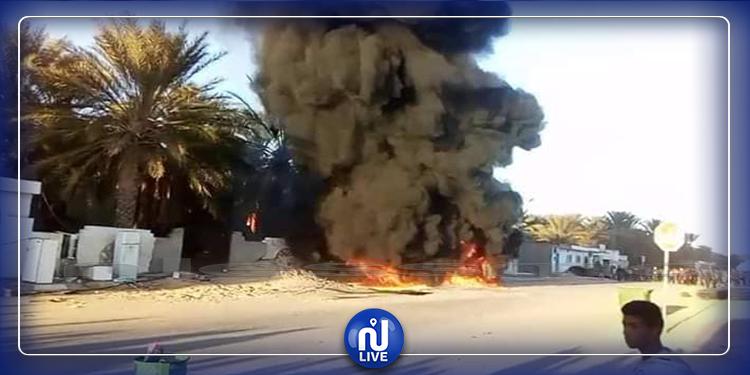 قبلي: حريق بمحل لبيع البنزين واحتجاز شاحنة إطفاء