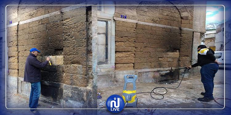 معهد التراث: إزالة آثار الحروق والرواسب  بنهج تربة الباي (صور)