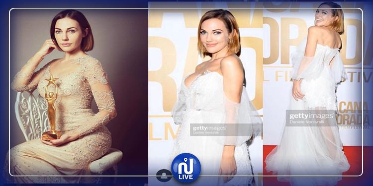 Meriem Uzerli habillée par une styliste tunisienne (Photos)