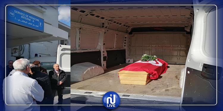 نقل جثمان لينا بن مهني من المستشفى نحو منزلها (صور)