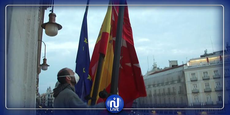 COVID-19: A Madrid, les drapeaux en berne