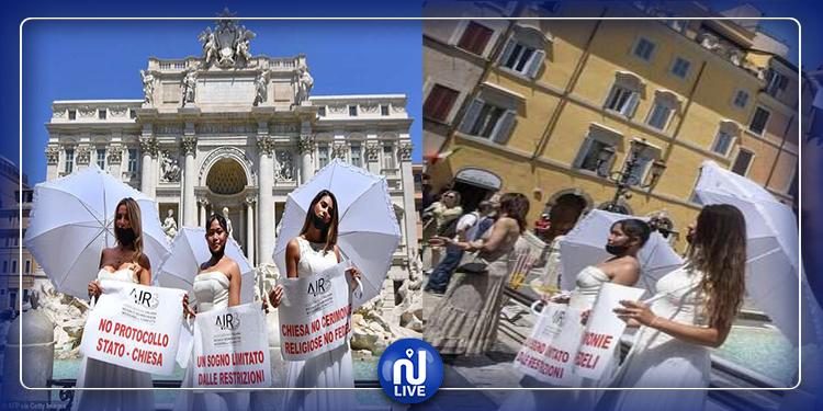 رافضات لقرار تأجيل زواجهن: عرائس إيطاليا يتظاهرن بفساتين الزفاف