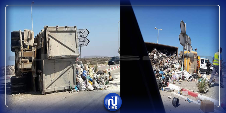 جربة: إنقلاب شاحنة تابعة للوكالة الوطنية للتصرف في النفايات